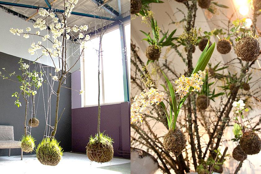 String Gardens door Fedor van der Valk  - Hangende planten in een haakwerk, lijkend op de Japanse botanische stijl  Kokedama.