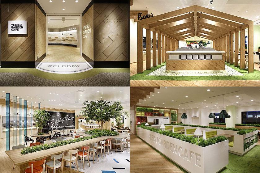 het yebisu garden cafe groen is hier meer geconcentreerd op n locatie in het kantoor