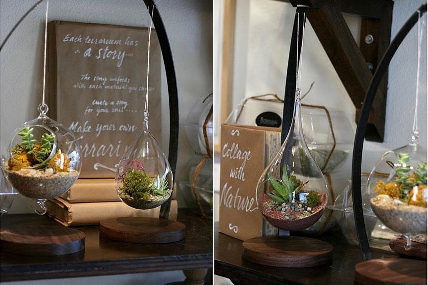 Voorbeelden van superleuke  hangende terrariums in druppelvormige vazen  en potten. Helemaal passend binnen de botanische trend en de interieur stylingvan nu.