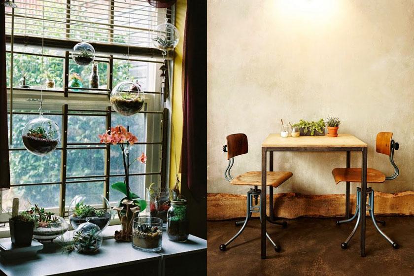 Meerdere  hangende terrariums voor een raam  kunnen een speels effect geven. Passend binnen de huidige botanische interieur trend.
