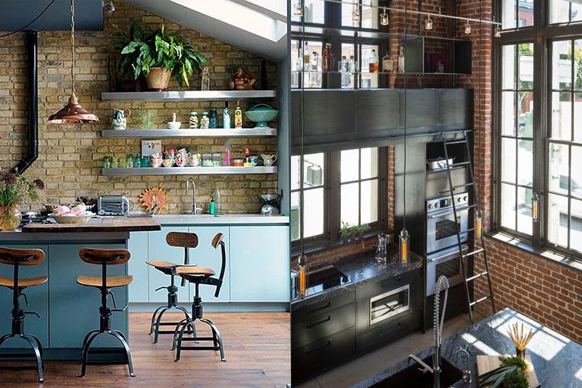 Industriële look van een keuken  - 6 ingredienten, veel inspiratie, tips en advies. Twee voorbeelden van een bakstenen muur in een keuken.
