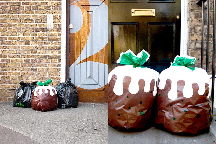 Cadeautip 1 - Als oliebol bedrukte vuilniszakken  bestellen in een Engelse webshop met meer leuke creatieve cadeau's.