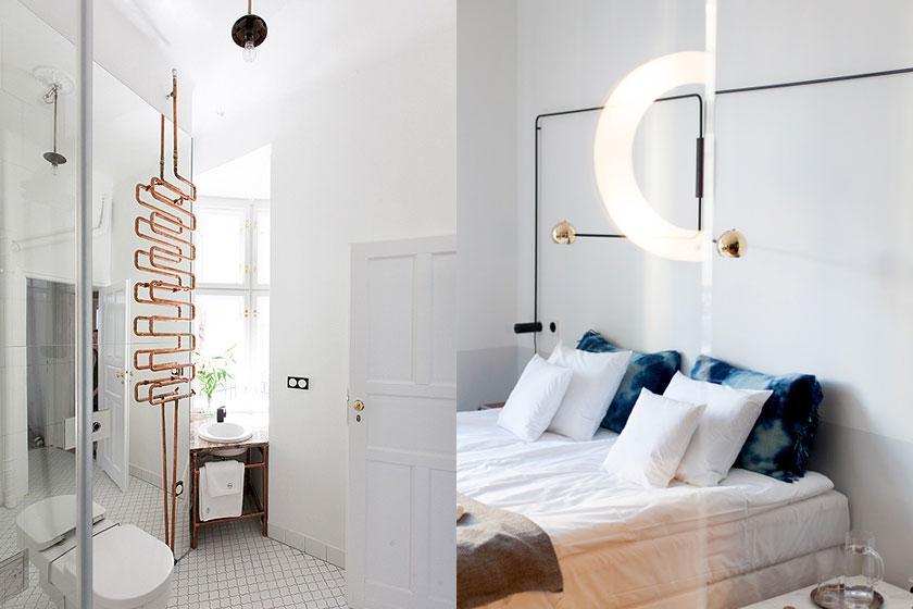 Eén van de, door de Poolse designstudio Mamastudio, gerenoveerde hotelkamers in Autor Rooms, een hotel in Warschau, bestaande uit gerenoveerde appartementen