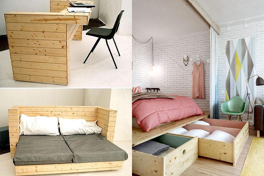 15 slimme tips van interieur stylisten bij de inrichting van kleine interieurs - Deel 1/2 - Koop of bestel meubels met een gecombineerde functie. Ruimtebesparend!
