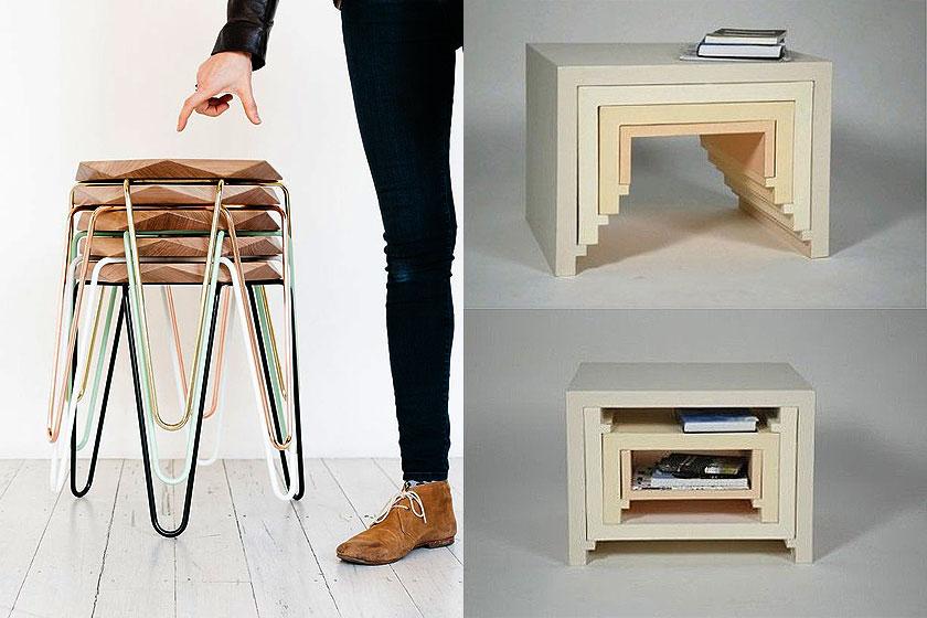 15 slimme tips van interieur stylisten bij de inrichting van kleine interieurs - Deel 1/2 - Zoek meubels die stapelbaar zijn of in elkaar te schuiven zijn.