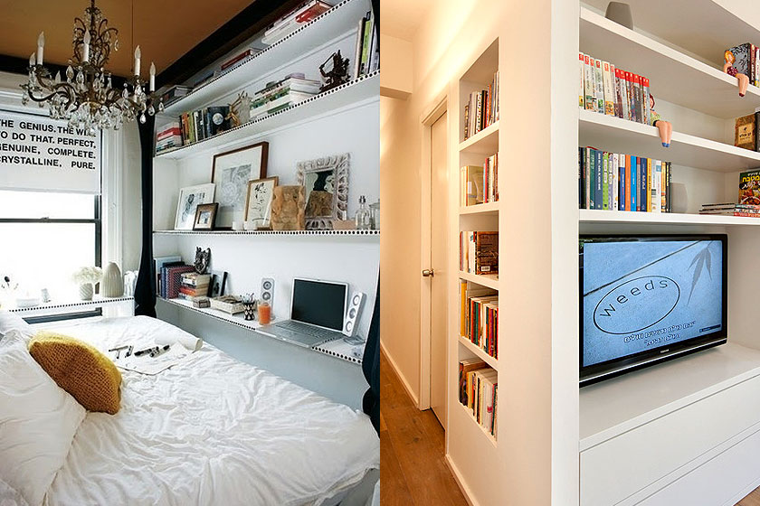 15 slimme tips van interieur stylisten bij de inrichting van kleine interieurs - Deel 1/2 - Gebruik muren voor opslag in een klein huis.