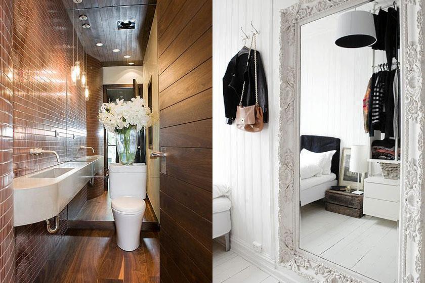 15 slimme tips van interieur stylisten bij de inrichting van kleine interieurs - Deel 1/2 - Spiegels helpen om de ruimte groter te laten lijken.