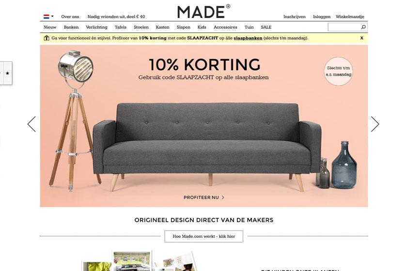 Made.com webshop - een kruising tussen de webshop van Wehkamp en Ikea. Gaat Made.com de wedstrijd winnen van Ikea?