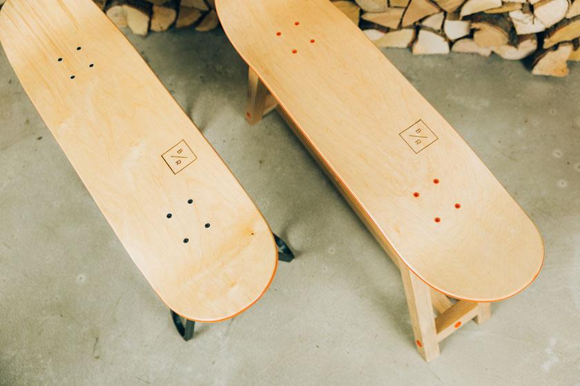 Baked / Roast - Skateboards worden hippe meubels door Nederlands design bureau Baked Roast uit Breda.Hier het Steel One bankje en het Wood One bankje.
