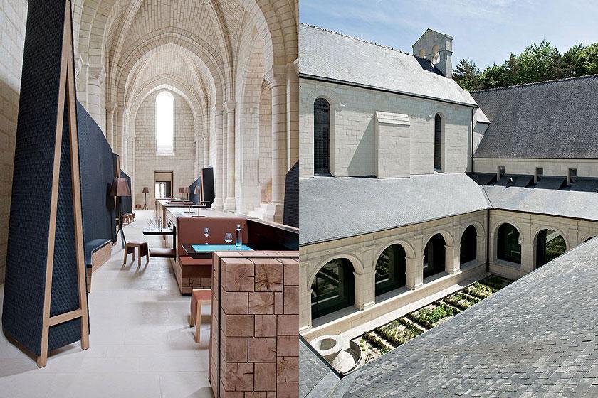Hotel overnachting in de luxueuze Fontevraud Abdij in de Loire vallei in Frankrijk. Bijzondere interieur styling en meubel ontwerpen op een hele bijzondere plek.