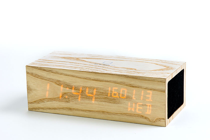 Gingko Click Clock - Bluetooth wekker - Cijfers verschijnen na een zachte tik op de wekker of door een geluid. Een stijlvolle toevoeging aan het interieur van de slaapkamer