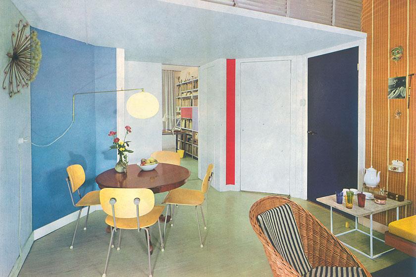 Fantastische retro beeldmateriaal van een Flexa woonkamer met Mondriaan invloeden uit de periode van 1965 - 1975. Flexa viert haar 60-jarig bestaan als verfmerk.