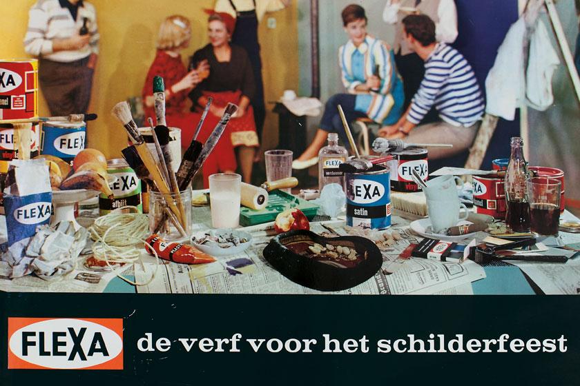 Oud Flexa reclambord - 'Flexa - de verf voor het schilderfeest'