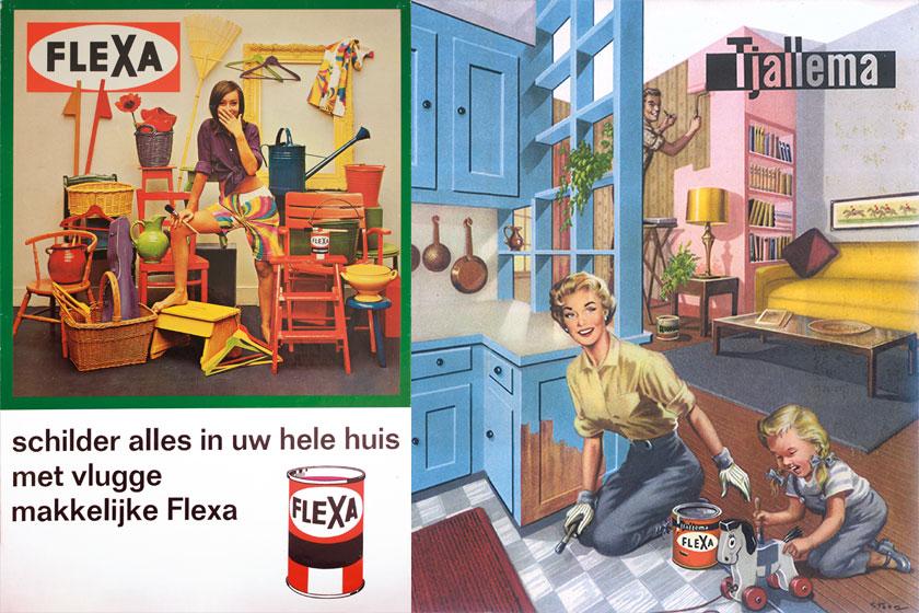 Oud reclame materiaal van verfmerk Flexa. Flex viert haar 60-jarig bestaan met veel mooi retro beeldmateriaal.