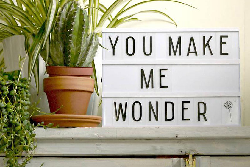 Lightbox met quote 'You make me wonder' is een trendy en superpopulaire woon-accessoire op het monent.