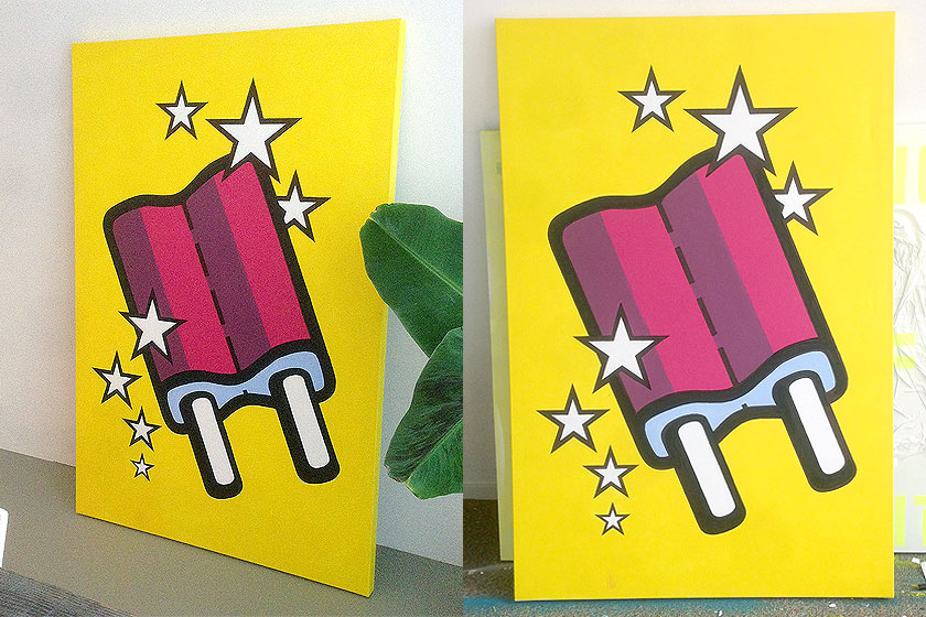 Schilderij 'icecream 1' van kunstenaar Mr. Upside is te koop via zijn webshop: http://www.mrupside.com/products/icecream-1