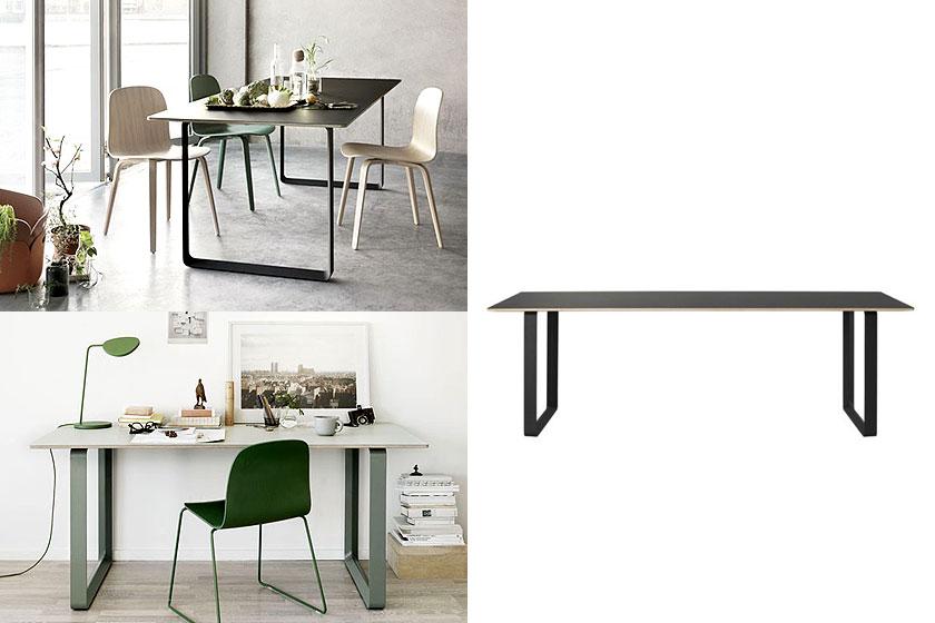 De 70/70 geometrische en minimalistische tafel van Muuto Design. Oa. te koop via Flinders.com