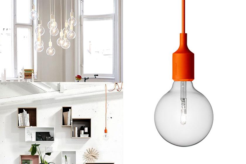 De Muuto E27 hanglamp is simpel en eenvoudig en verkrijgbaar met verschillende felgekleurde kabels. Oa. te koop via webshop Flinders.com