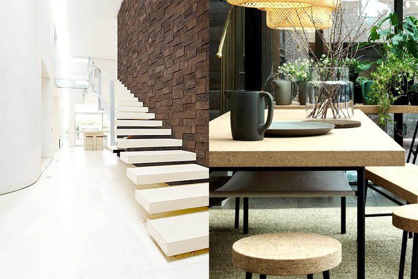 Voorbeelden van kurk in interieurs. Links is een wand bedekt met tegels van kurk en rechts zie je divers meubilair van kurk.
