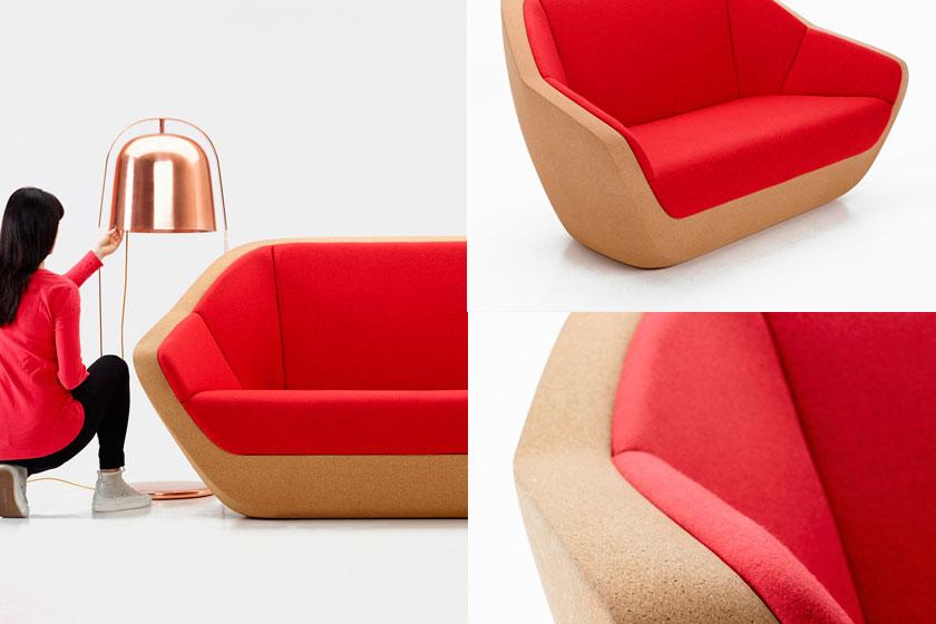 De Corgues Sofa van Lucie Koldova is ook voor een deel gemaakt van kurk.