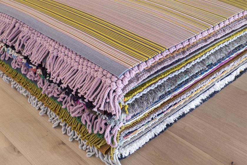 Hella Jongerius maakte een serie vloerkleden waarin kurk op een innovatieve manier is verwerkt.