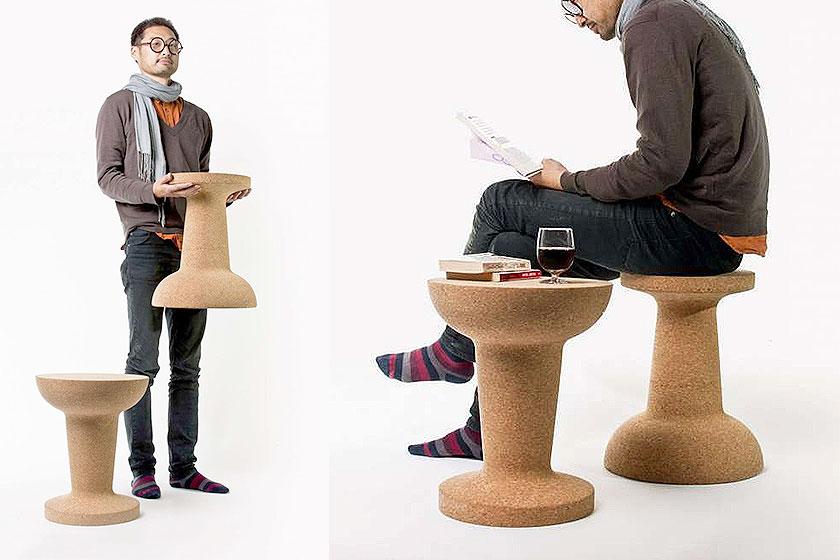 Kurk is een dankbaar materiaal voor product ontwerpers. Zoals hier het 'pushpin' krukje / tafeltje van Kenyon Yeh.