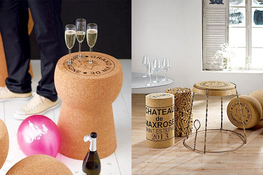 Levensgrote Champagne kurk als bijzettafel of krukje - Super idee voor de styling van feesten!