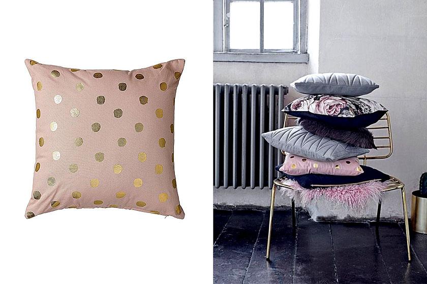 Bloomingville kussen, roze met gouden stippen is te koop via de webshop van Wehkamp
