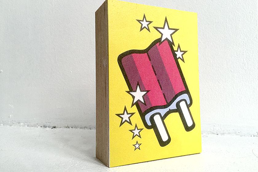 Foto op hout - Hout blokken met print bestellen - Kunst Mr. Upside ijsje icecream 15 x 10 cm - foto 1