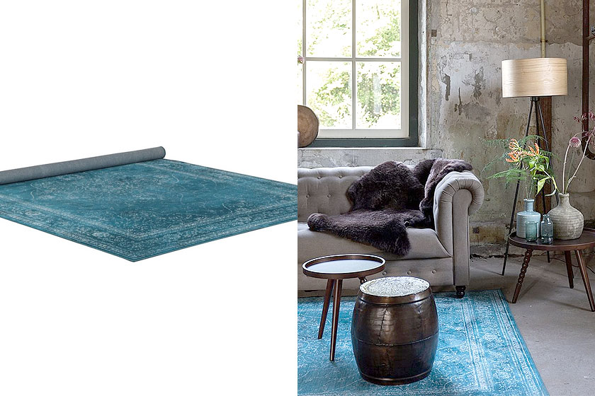 dutchtone vloerkleed in de rugged collectie dit is de ocean variant met mooie aqua nbsp