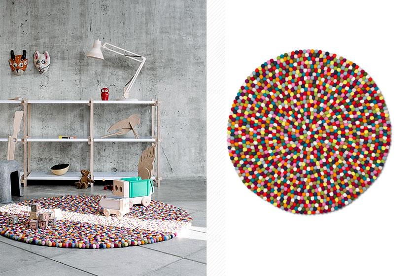 Pinocchio kleurrijk vloerkleed van Hay Design - felgekleurde suikerballen en snoepgoed - Te koop via de webshop van Flinders