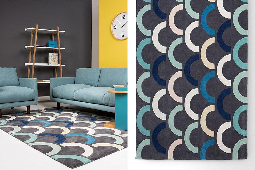 Loop vloerkleed ontworpen door Lindsey Lang exclusief voor MADE.com en geïnspireerd door grafische prints en illustraties. Te koop op MADE.com