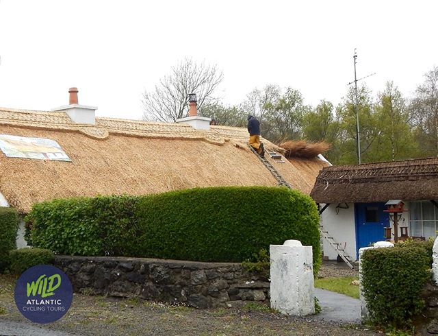Traditional crafts such as thatching are alive and well on the west coast of Ireland! #mizmal #cyclingholiday