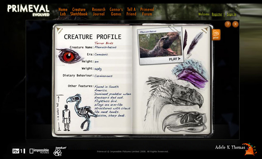 Primeval Evolved Web Game : Illustrations : Hoodlum & ITV