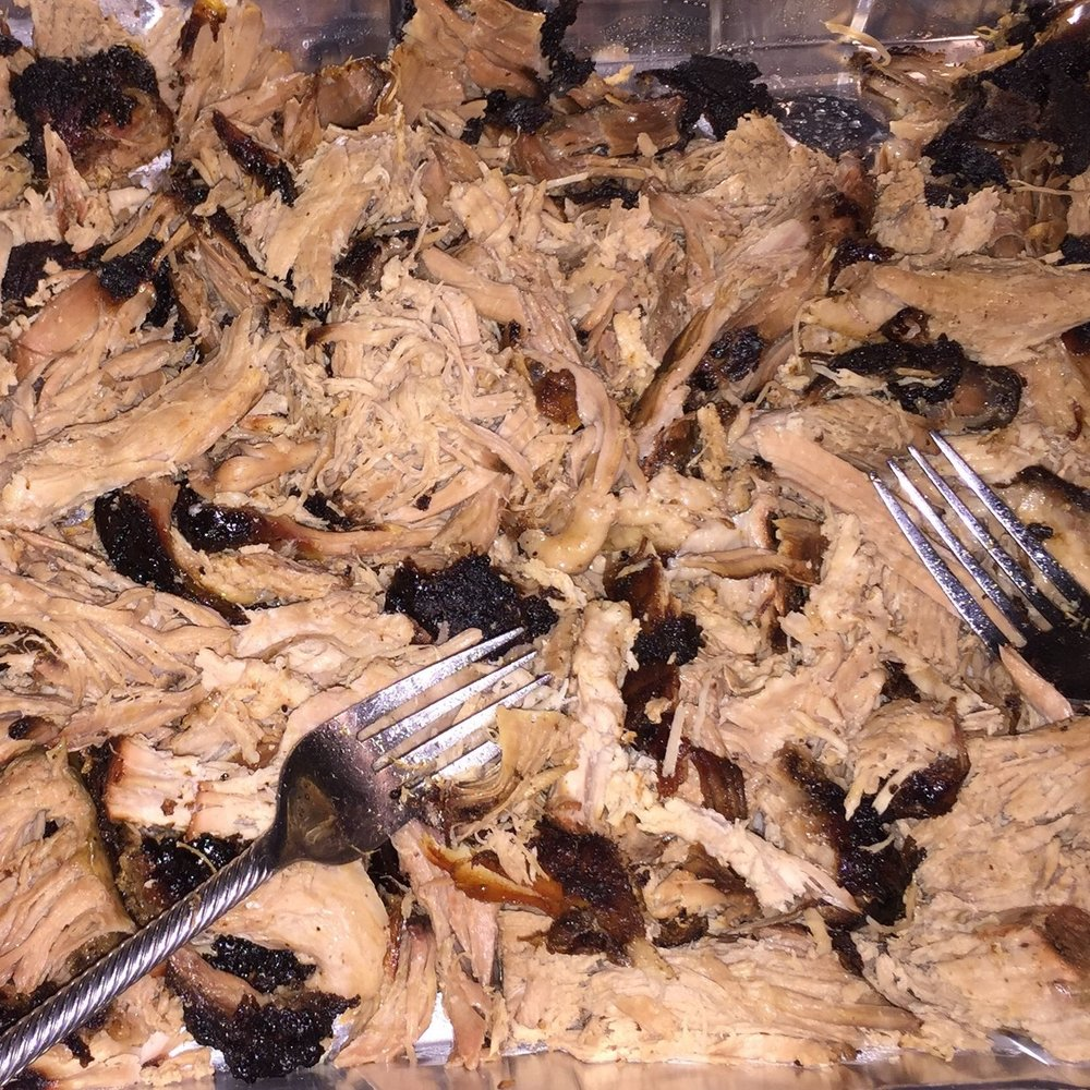 A customer's smoked pulled pork with our Duroc shoulder.