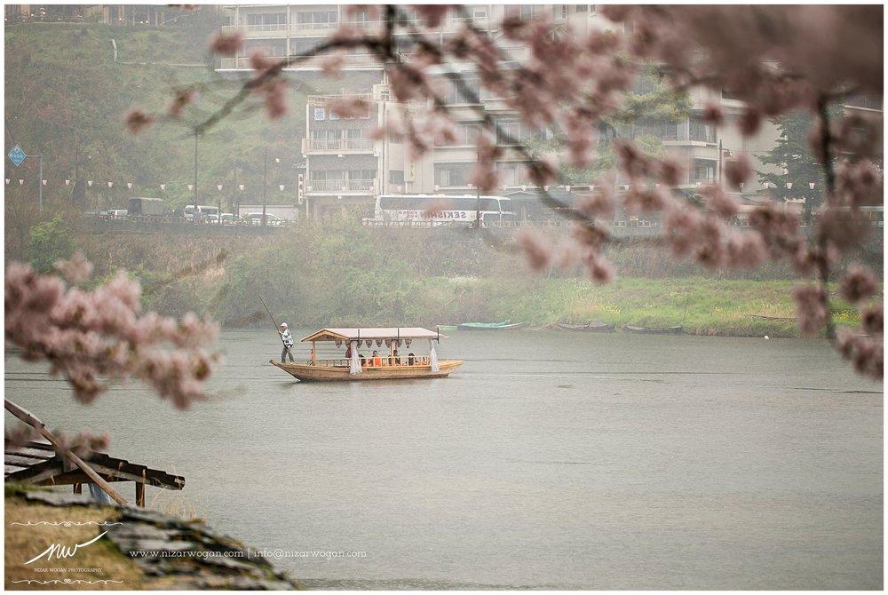 A boat that will take you around the Kintai Bridge.
