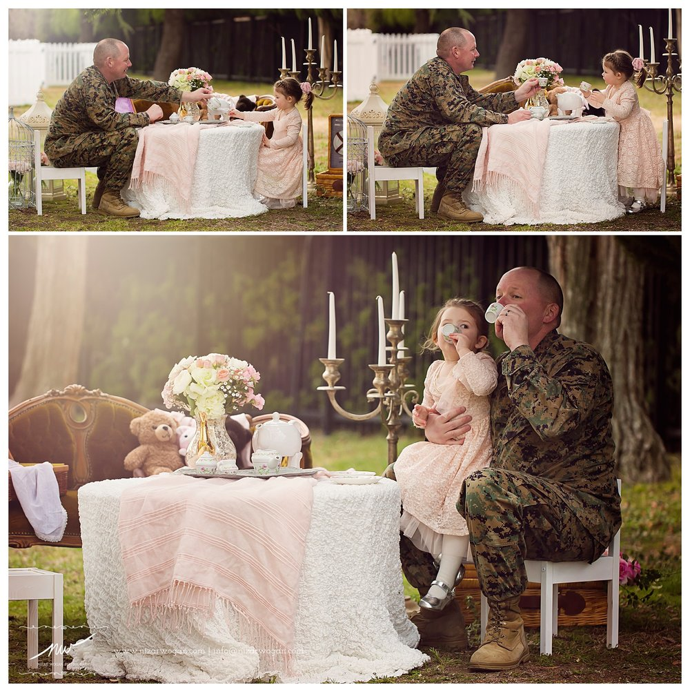 military father daughter tea party session