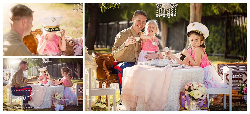 military father daughter tea party photoshoot