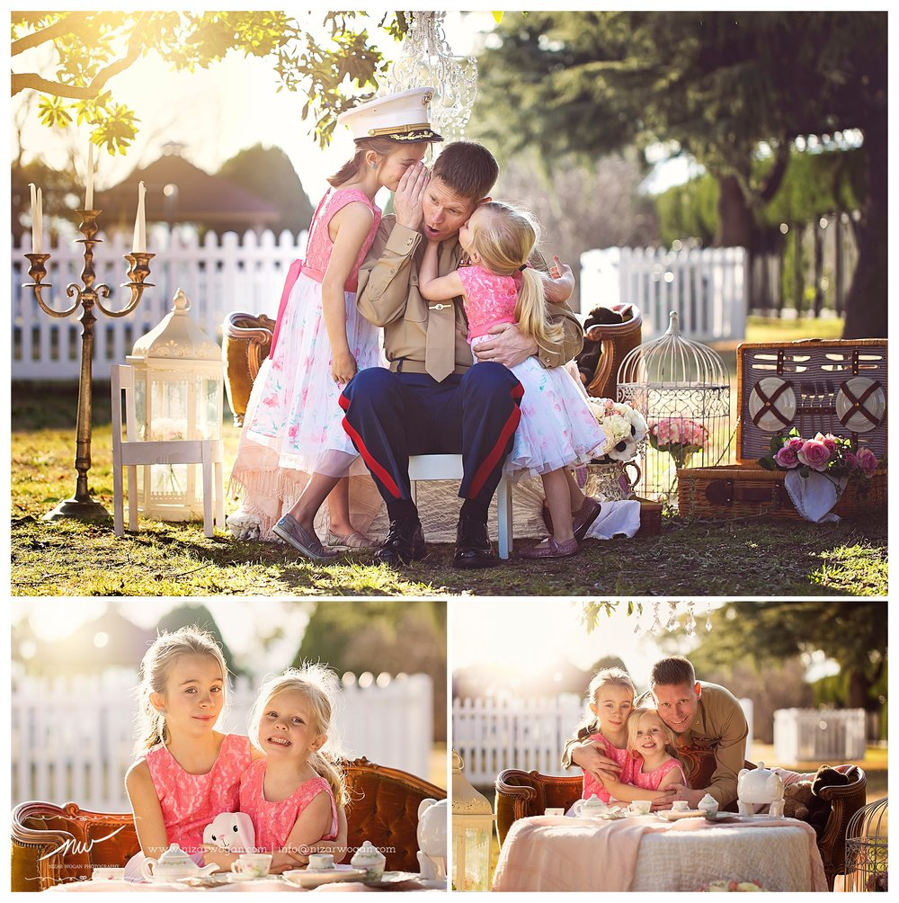 military father daughter tea party