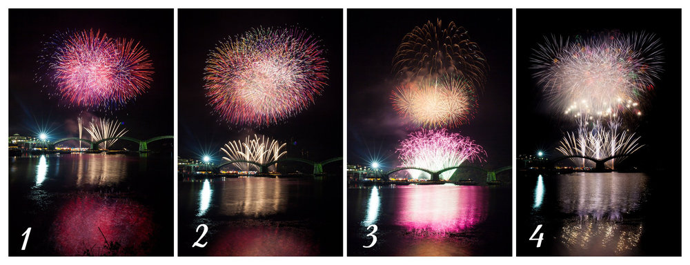 fireworks kintai bridge japan