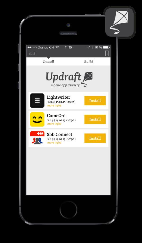 App-Betatesting und Enterprise Apps - der Mobile App Delivery Service Updraft macht das Verteilen von Apps ausserhalb des App Store kinderleicht.