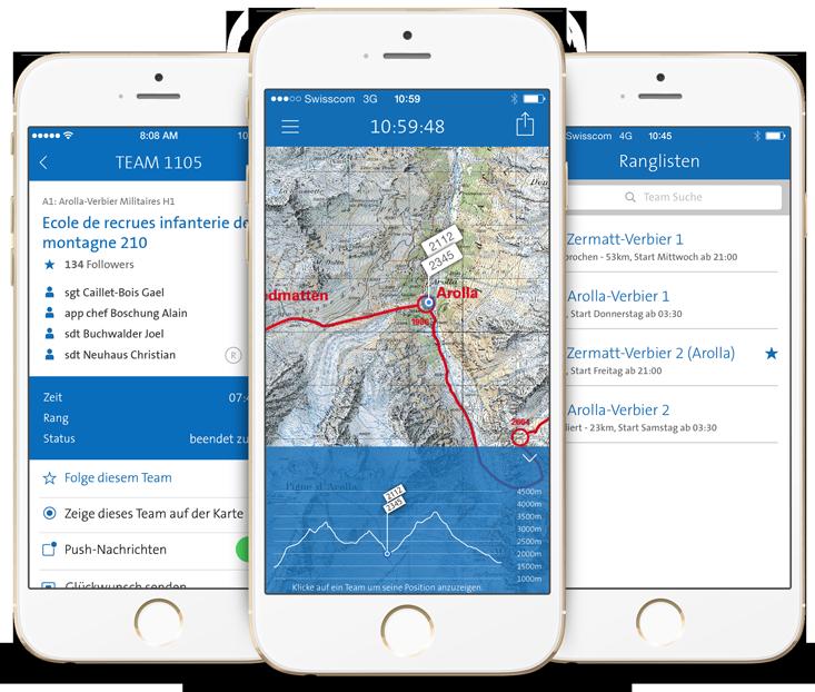 Patrouille des Glaciers - App Konzept Design Entwicklung und Hosting.