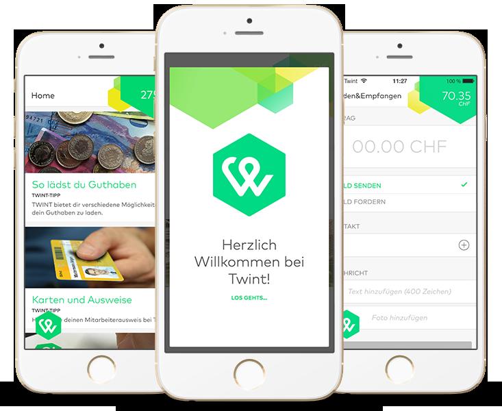 Twint App - App Konzept und design für das digitale Portemonnaie der PostFinance