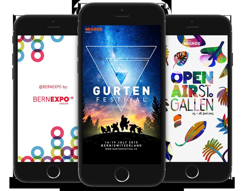 Die modulare Event App - mobile App iOS Android Gurten-Festival, OpenAir St.Gallen, Frauenfeld, Gampel, BEA, Berufsmesse Zürich und viele weitere Events.