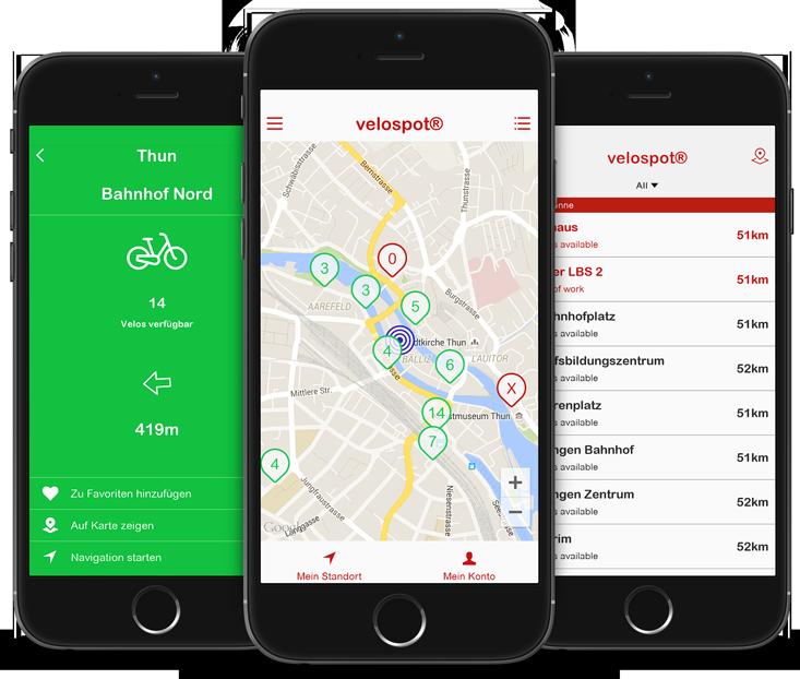 Velospot - die Bikesharing-App für Schweizer Städte.