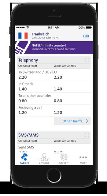 Swisscom Roaming Guide - überall im Ausland die aktuellen Tarife abrufen.