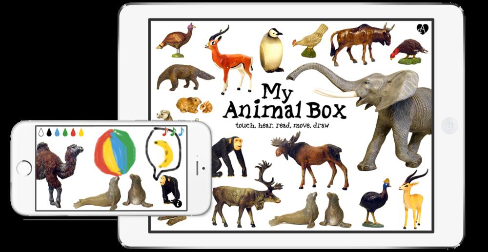 Anfassen, Bewegen, Hören und Zeichnen: eine Bilderbuch-App zum Lernen von Tiernamen und Lauten.