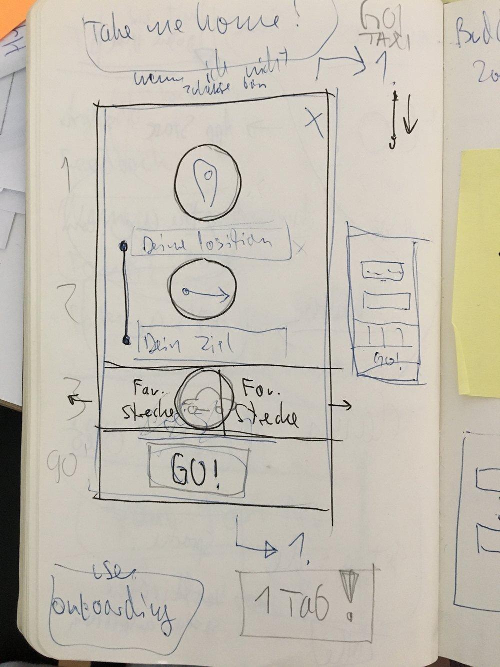 Eine frühe Skizze des gewählten Designkonzeptes.