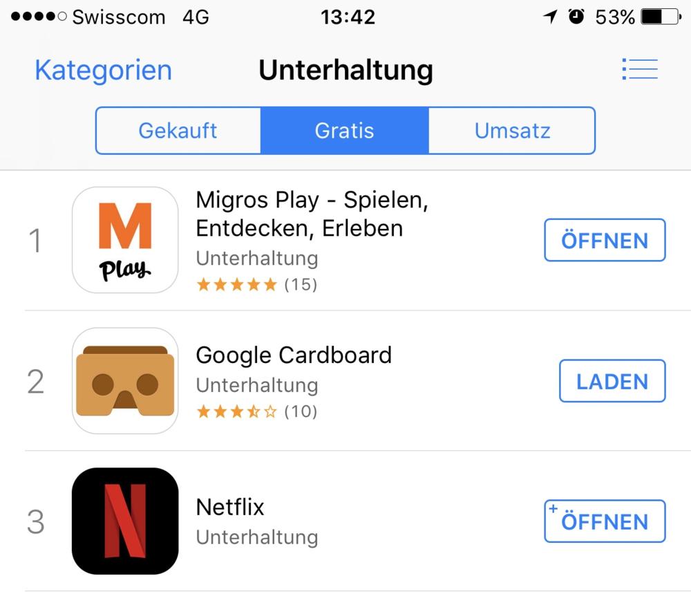 """App Store Screenshot von Anfang Juni 2017: Migros Play auf Platz 1 in der Kategorie """"Unterhaltung""""..."""