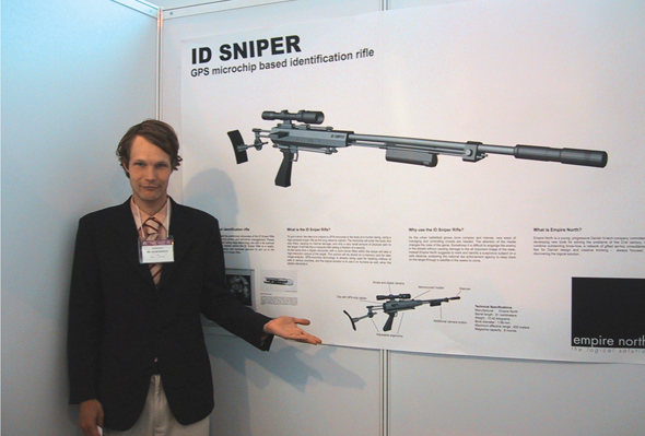 """ID Sniper"" (performance still),  photographic print,  30 x 50 inches, Jakob S. Boeskov, 2002"